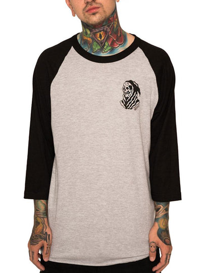 "Unisex ""The 13th"" Baseball Tee by InkAddict (Heather Grey/Black)"