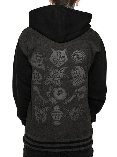 "Unisex ""The 13th"" Varsity Hoodie by InkAddict (Black Collection)"