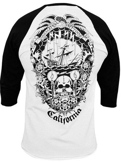 "Men's ""Cormack"" Baseball Tee by Black Market Art (Black/White) - www.inkedshop.com"