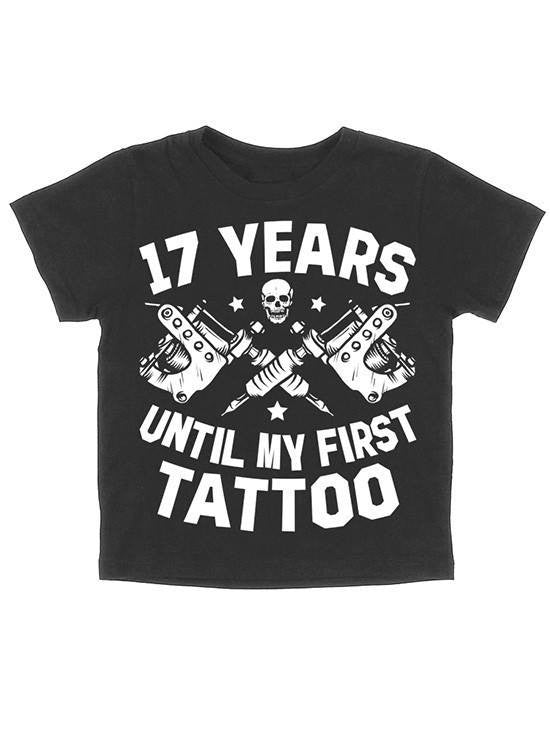 "Kids ""17 Years Until My First Tattoo"" Tee by Skygraphx (Black) - www.inkedshop.com"
