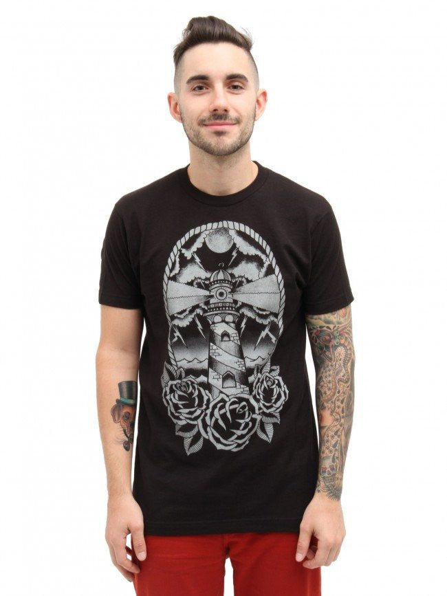 "Men's ""Light House"" Tee by Black Market Art (Black) - InkedShop - 1"