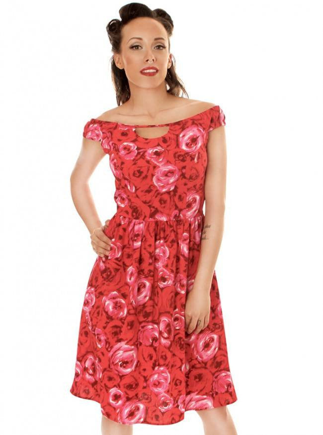 "Women's ""Roses"" Dress by Retrolicious (Red) - www.inkedshop.com"