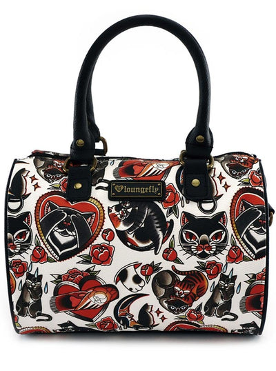 "Women's ""Cat Tattoo Flash Print"" Duffle bag by Loungefly (Black/Red)"