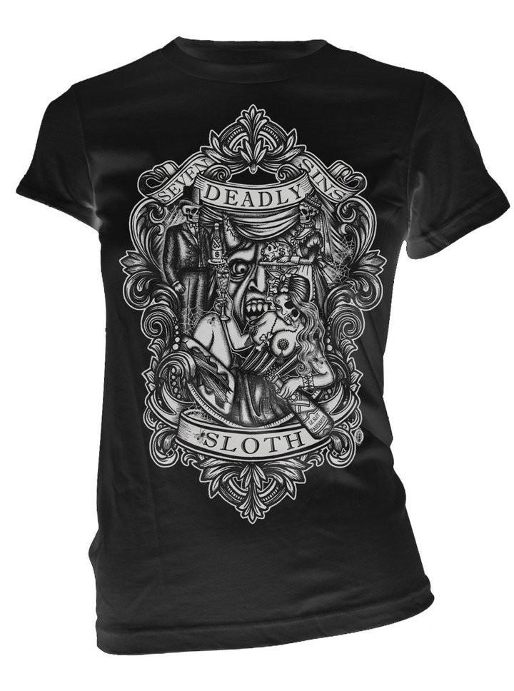 "Women's ""Sloth"" Tee by Se7en Deadly (Black) - www.inkedshop.com"