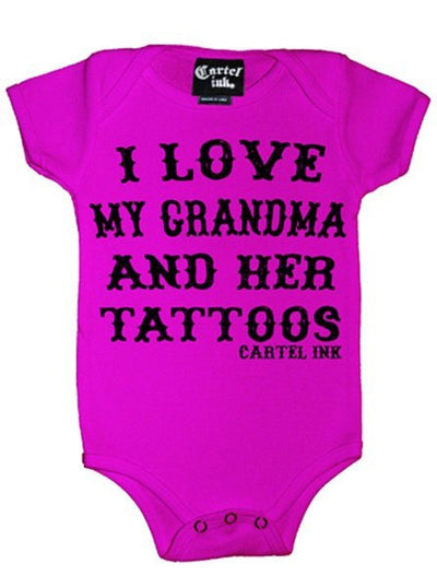 "Infant's ""I Love My Grandma And Her Tattoos"" Onesie by Cartel Ink (More Options) - www.inkedshop.com"