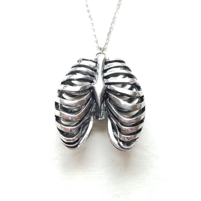 Small Anatomical Rib Cage Necklace by Queen of Jackals