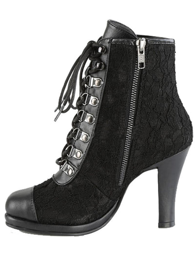 "Women's ""Glam 202"" Platform Lace-Up Ankle Boots by Demonia (Black)"