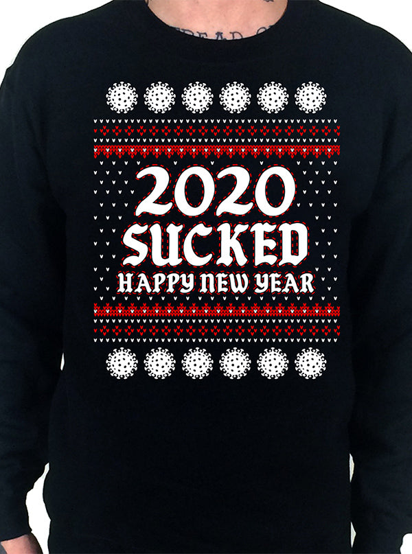 Men's 2020 Sucked, Happy New Year Ugly Christmas Crewneck Sweatshirt by Cartel Ink
