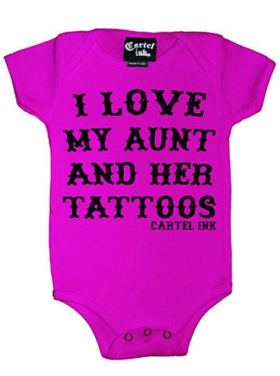 "Infant's ""I Love My Aunt And Her Tattoos"" Onesie by Cartel Ink (More Options) - www.inkedshop.com"