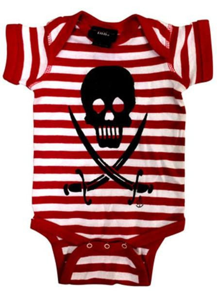 "Infant's ""Skulls & Sabers"" Onesie by Cartel Ink (Red/White) - www.inkedshop.com"