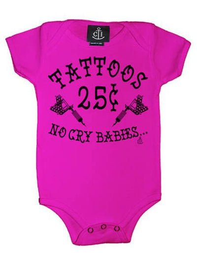 "Infant's ""Tattoos 25¢ No Cry Babies"" Onesie by Cartel Ink (More Options) - www.inkedshop.com"
