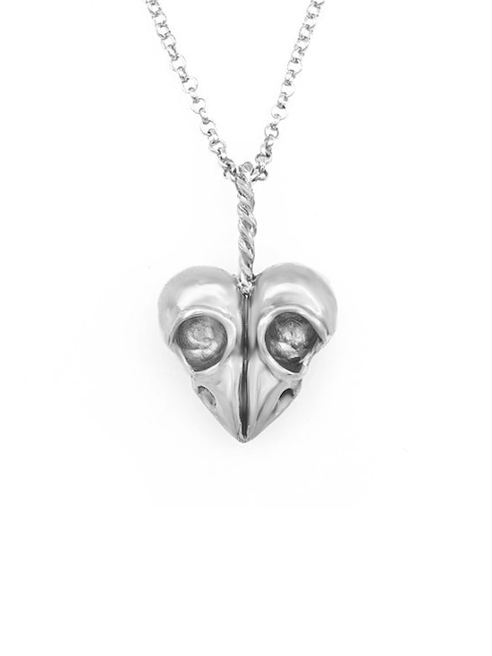 """Heart of Skulls"" Necklace by Blue Bayer Design (White Bronze) - InkedShop - 1"