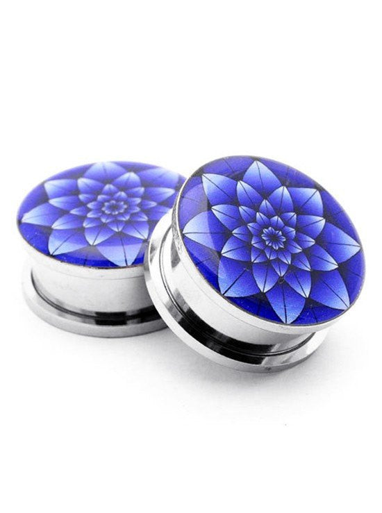 Blue Lotus Plugs by Mystic Metals - www.inkedshop.com