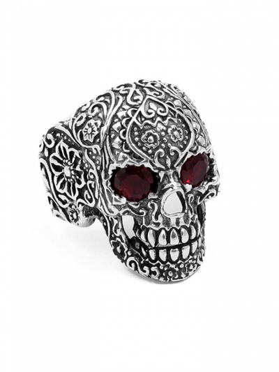 """Sugar Skull"" Ring by Billy Rebs (Silver/Red CZ) - InkedShop - 1"