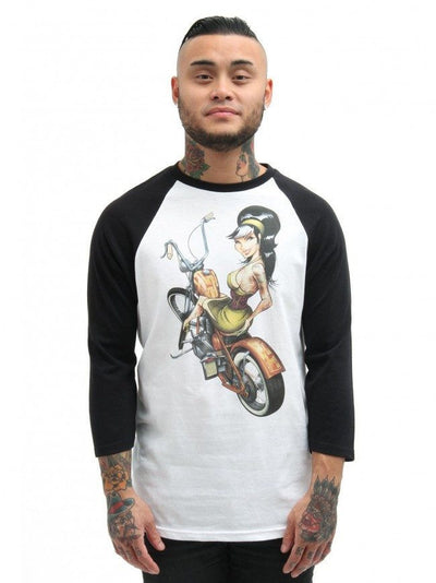 "Men's ""Hard Tail"" Baseball Raglan by Lowbrow Art Company - InkedShop - 2"