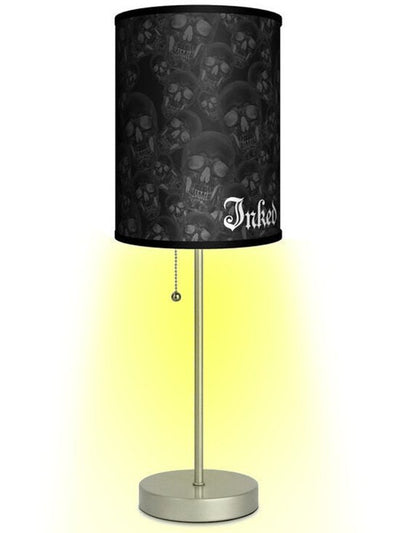 "Silver Lamp With ""Inked Logo Shade"" by Lamp in A Box - www.inkedshop.com"