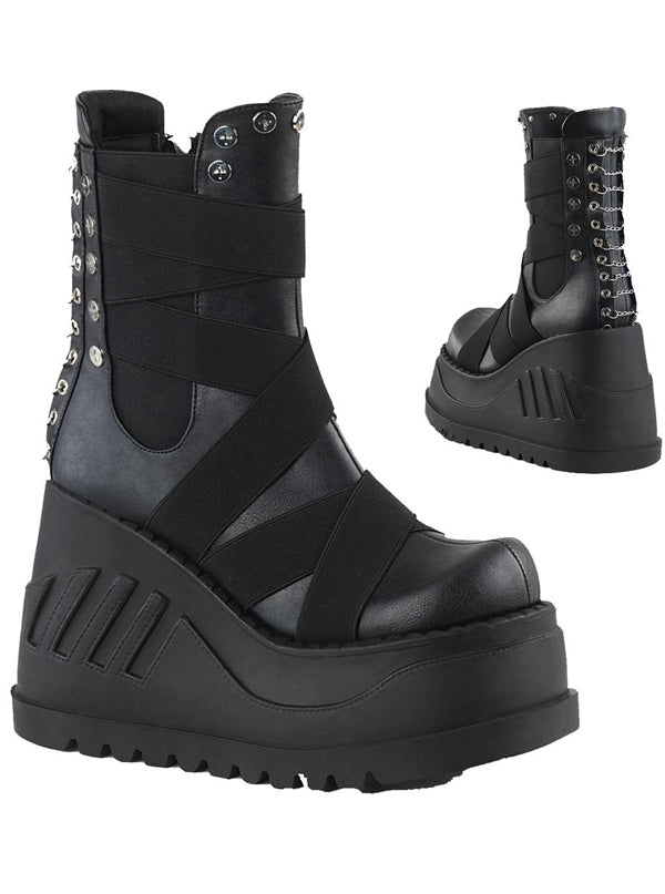 "Women's ""Stomp 25"" Vegan Platform Boots by Demonia (Black)"