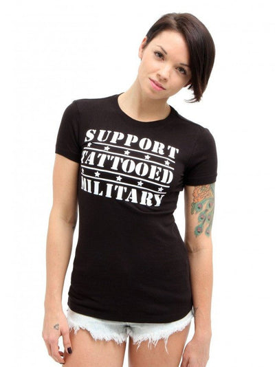"Women's ""Tattooed Military"" Tee by Steadfast Brand (Black) - InkedShop - 2"