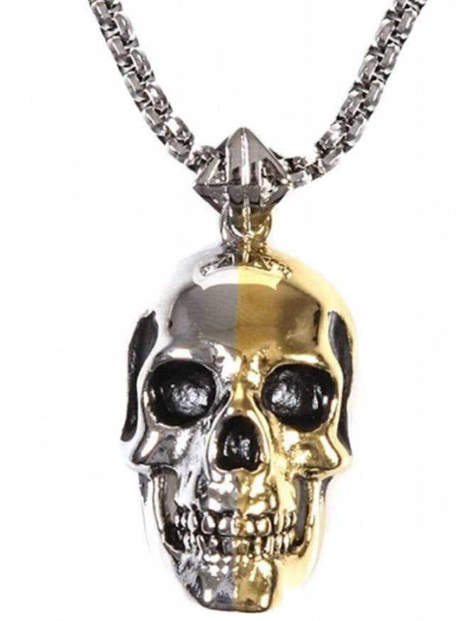 """2 Tone Skull"" Pendant by Han Cholo (Silver/Gold) - www.inkedshop.com"