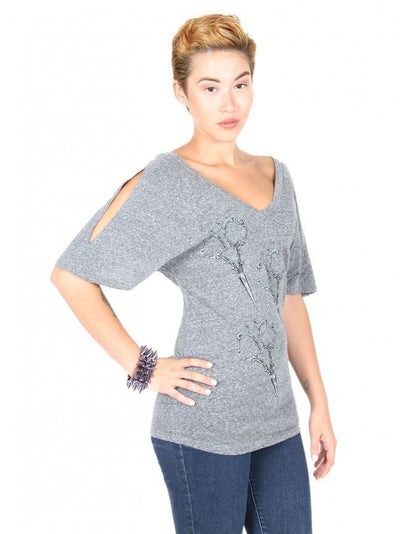 "Women's ""Shears"" Dolman V-Neck Tee by Annex Clothing (Heather Grey) - InkedShop - 3"
