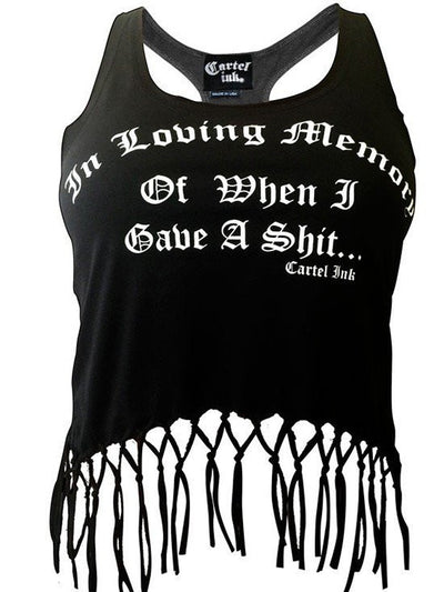 "Women's ""In Loving Memory"" Fringed Racerback Tank by Cartel Ink (Black) - www.inkedshop.com"