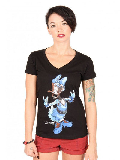 "Women's ""Daisy"" V-Neck Tee by Lowbrow Art Company (Black) - InkedShop - 1"