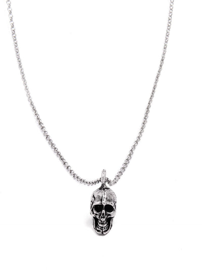 Small Silver Human Skull Necklace by Blue Bayer Design - www.inkedshop.com