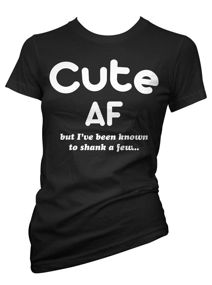 "Women's ""Cute AF"" Tee by Cartel Ink (Black) - www.inkedshop.com"