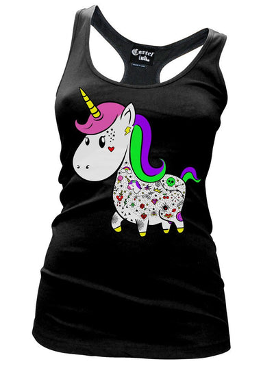 "Women's ""Unicorn"" Racerback Tank by Cartel Ink (Black) - www.inkedshop.com"