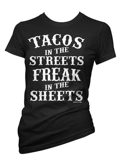 "Women's ""Tacos in the Streets"" Tee by Cartel Ink (Black)"