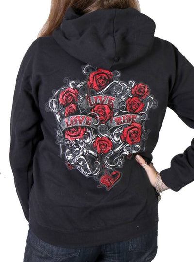 "Women's ""Live, Love, Ride and Roses"" Zip-Up Hoodies by Hot Leather (Black) - www.inkedshop.com"