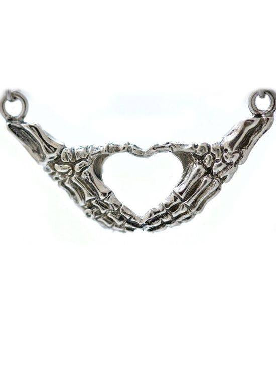"""Skeletal Hand Heart"" Necklace by Blue Bayer Design - InkedShop - 1"