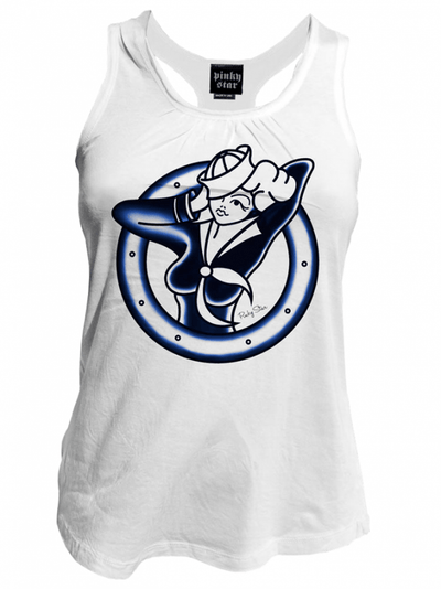 "Women's ""Sailor Girl"" Tank by Pinky Star (White) - InkedShop - 1"