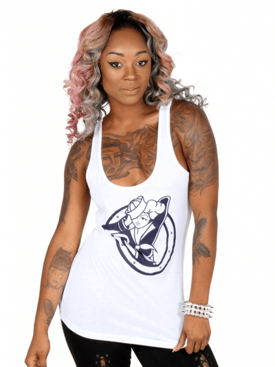 "Women's ""Sailor Girl"" Tank by Pinky Star (White) - InkedShop - 3"