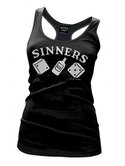 "Women's ""Sinners Plaque"" Racerback Tank by Pinky Star - InkedShop - 3"