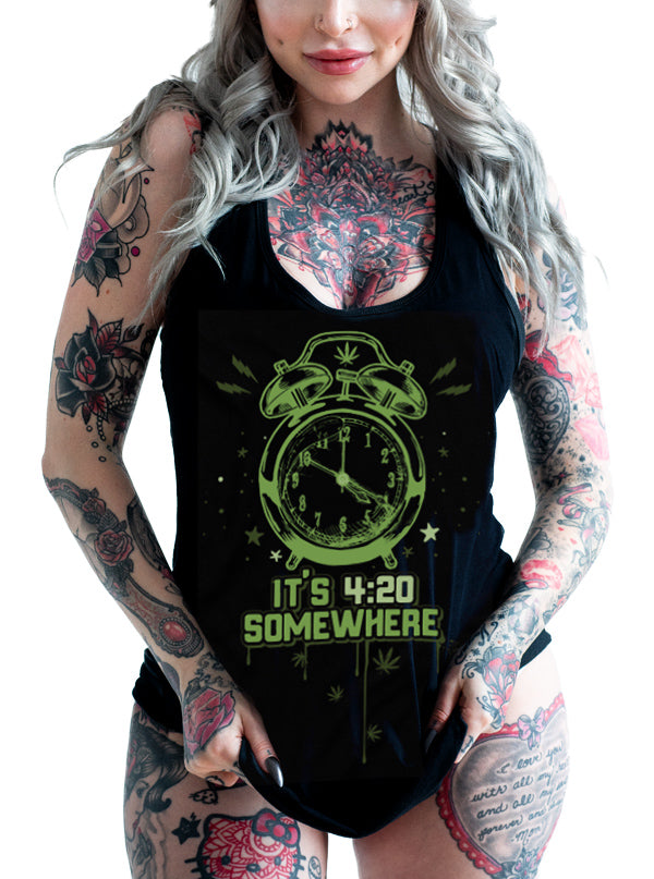 "Women's ""420 Somewhere"" Tank by 7th Revolution (Black)"