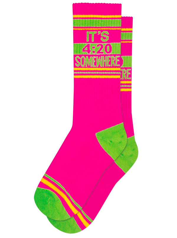 Unisex It's 420 Somewhere Ribbed Gym Socks