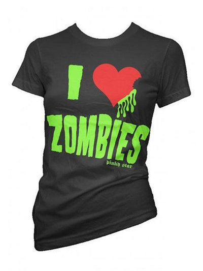 "Women's ""I Love Zombies"" Tee by Pinky Star (Black) - InkedShop - 3"