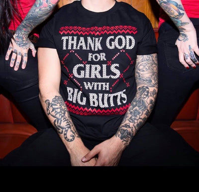 Men's Thank God For Girls With Big Butts Ugly Christmas Sweater Tee by Cartel Ink