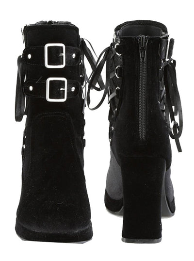 "Women's ""Crypto 51"" Velvet Ankle Boots by Demonia (Black)"