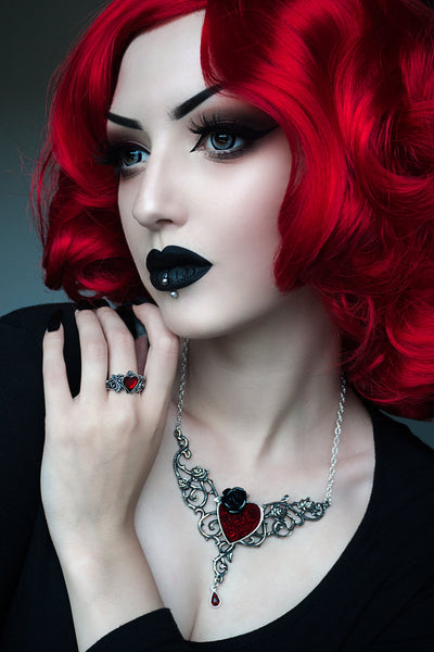 Blood Rose Heart Necklace by Alchemy of England