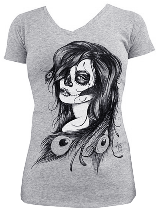 "Women's ""Dead Feathers"" V-Neck Tee by Black Market Art (Heather Grey) - InkedShop - 1"