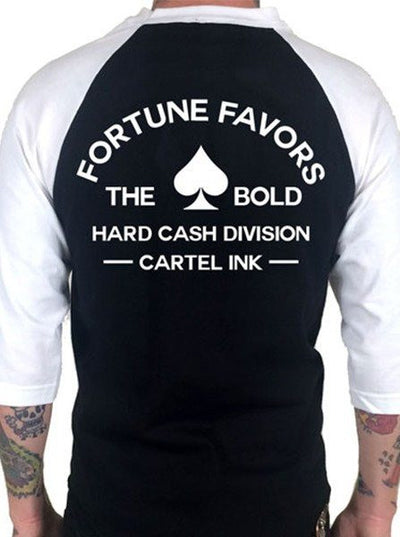 "Men's ""Fortune Favors the Bold"" 3/4 Sleeve Jersey by Cartel Ink (Multiple Options) - www.inkedshop.com"
