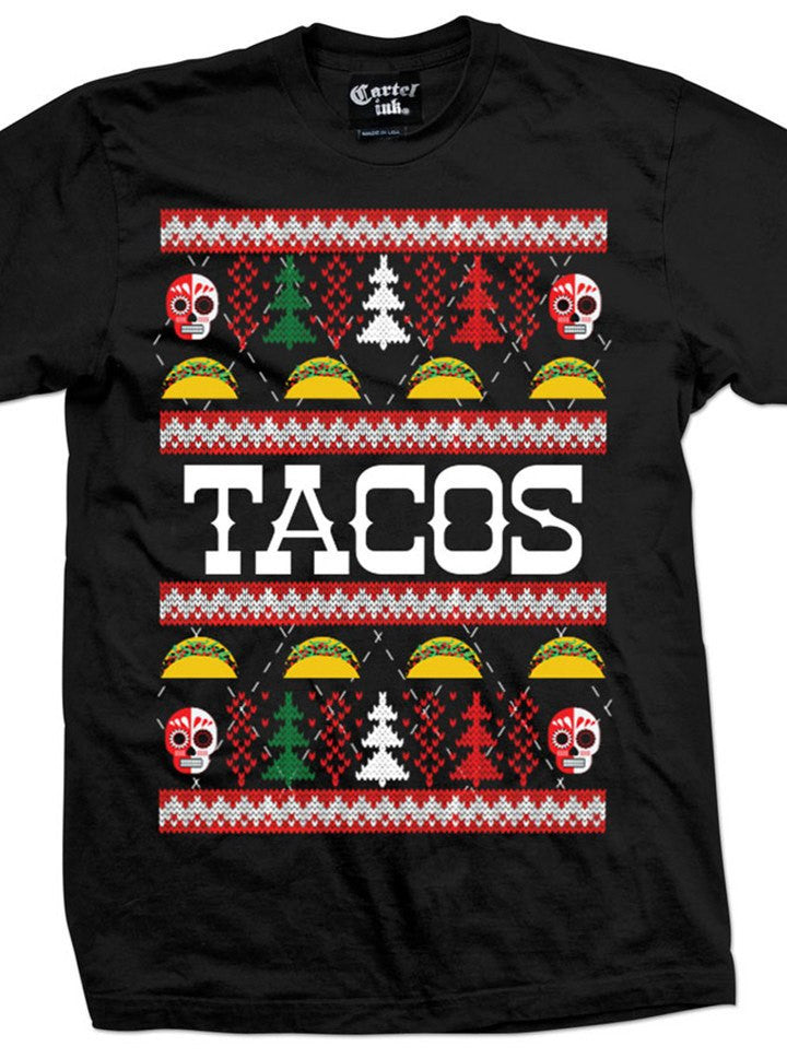 "Men's ""Tacos"" Ugly Christmas Sweater Tee by Cartel Ink (Black) - www.inkedshop.com"