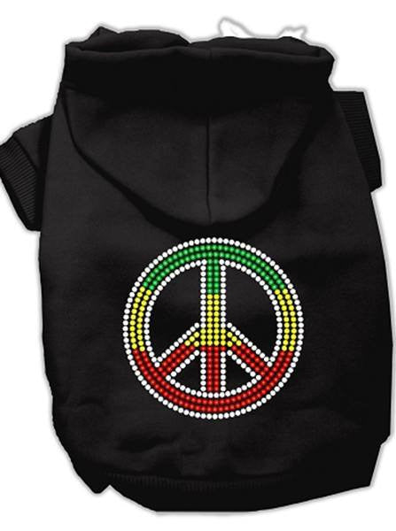 """Rasta Peace Sign"" Rhinestone Dog Hoodie by Mirage Pet Products (More Options) - www.inkedshop.com"