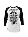 "Women's ""Owl Clock"" Baseball Tee by Lowbrow Art (White/Black) - InkedShop - 1"
