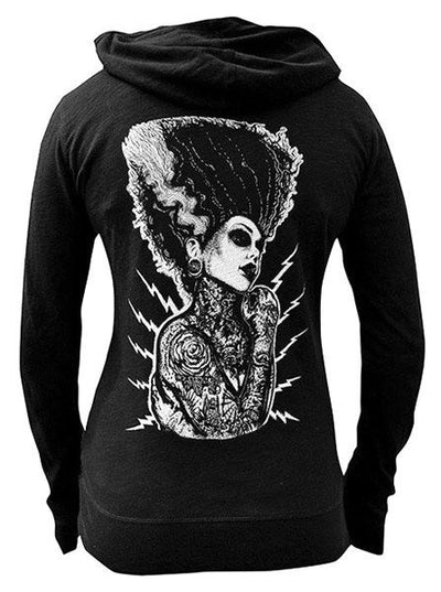 "Women's ""Demon Love"" Zip Hoodie by Black Market Art (Black) - www.inkedshop.com"