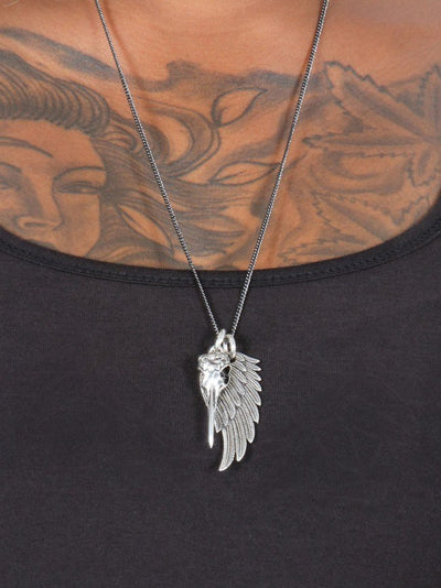 """Hummingbird Skull & Angel Wing"" Necklace by Lost Apostle (Antique Silver) - InkedShop - 2"