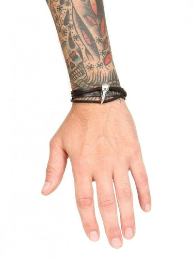 """Raven Skull"" Leather Bracelet by Lost Apostle (Antique Silver) - InkedShop - 2"