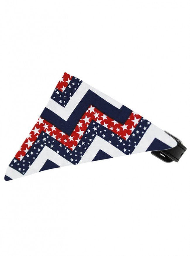 """Patriotic Chevrons"" Bandana Pet Collar by Mirage Pet Products - www.inkedshop.com"